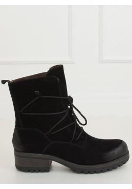 Dámske módne topánky so širokým opätkom v čiernej farbe