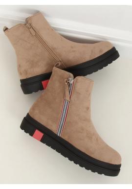 Dámske semišové topánky s vysokou podrážkou v béžovej farbe