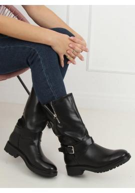 Čierne lícové čižmy vo vojenskom štýle pre dámy