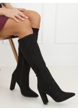 Klasické dámske čižmy čiernej farby na podpätku