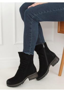 Nubukové dámske topánky čiernej farby s nariaseným zvrškom