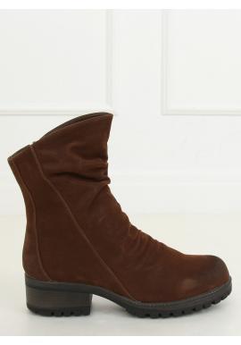 Hnedé nubukové topánky s nariaseným zvrškom pre dámy