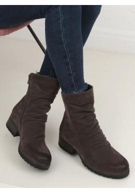 Dámske nubukové topánky s nariaseným zvrškom v sivej farbe