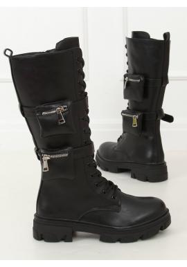 Dámske štýlové čižmy s kapsičkami v čiernej farbe