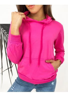 Športová dámska mikina ružovej farby s kapucňou