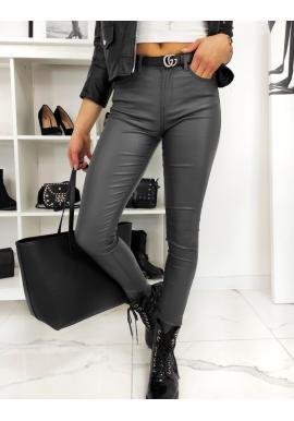 Dámske voskované nohavice s vyšším pásom v tmavosivej farbe
