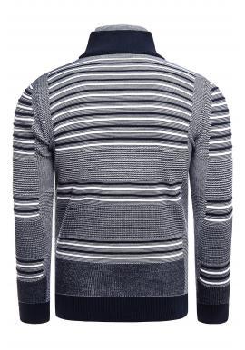 Tmavomodrý pásikavý sveter so zapínaným rolákom pre pánov