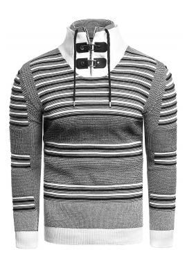 Pánsky pásikavý sveter so zapínaným rolákom v bielej farbe