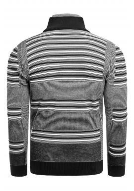 Pásikavý pánsky sveter čiernej farby so zapínaným rolákom