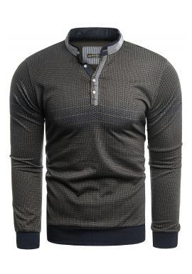 Čierno-hnedý vzorovaný sveter so zapínaným výstrihom pre pánov