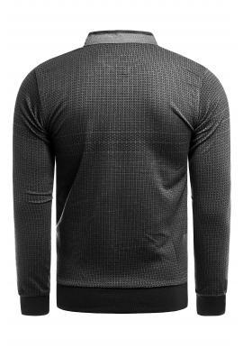 Vzorovaný pánsky sveter čierno-sivej farby so zapínaným výstrihom