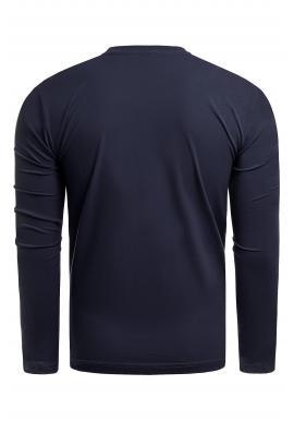 Tmavomodré bavlnené tričko s dlhým rukávom pre pánov