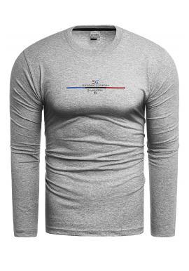 Bavlnené pánske tričko sivej farby s dlhým rukávom
