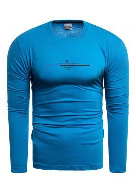 Pánske bavlnené tričko s dlhým rukávom v svetlomodrej farbe