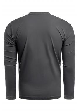 Čierne bavlnené tričko s dlhým rukávom pre pánov