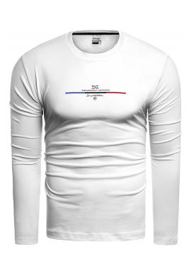 Bavlnené pánske tričko bielej farby s dlhým rukávom