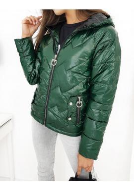 Dámska prešívaná bunda na jeseň v zelenej farbe