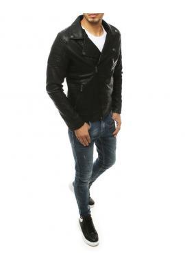 Pánska kožená bunda na jeseň v čiernej farbe