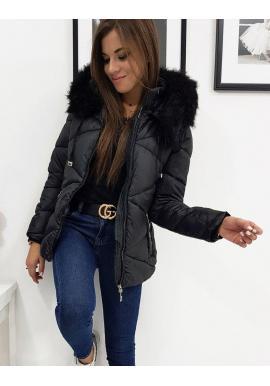 Prešívaná dámska bunda čiernej farby s kapucňou