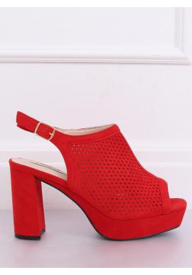 Ažúrové dámske sandále červenej farby na stabilnom podpätku