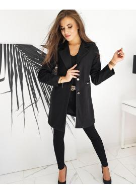 Jednoradový dámsky kabát čiernej farby s dvomi gombíkmi