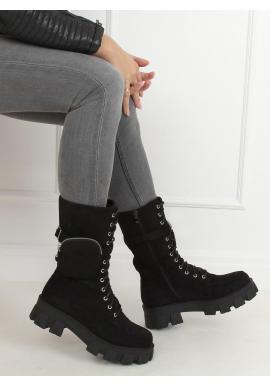 Semišové dámske čižmy čiernej farby s kapsičkou a masívnou podrážkou
