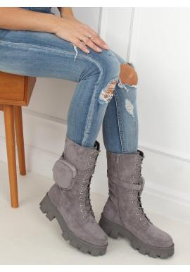 Sivé semišové čižmy s kapsičkou a masívnou podrážkou pre dámy