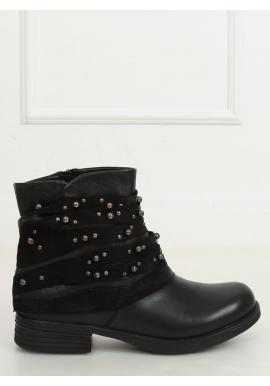 Módne dámske topánky čiernej farby so semišovým golierom