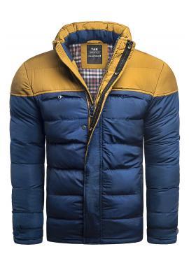 Zimná pánska bunda modrej farby s odopínacou kapucňou