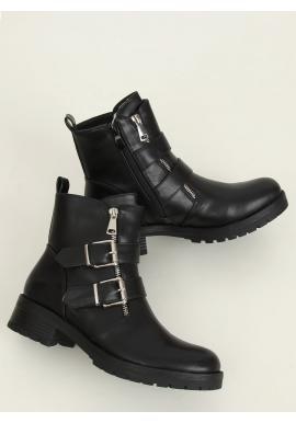 Členkové dámske topánky čiernej farby s prackami