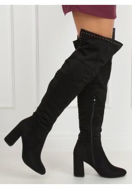 Semišové dámske čižmy nad kolená čiernej farby s vybíjaním