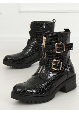 Čierne lakované čižmy s motívom krokodílej kože pre dámy