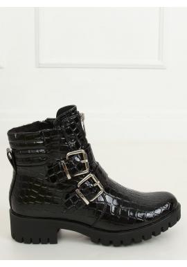 Dámske lakované čižmy s motívom krokodílej kože v čiernej farbe