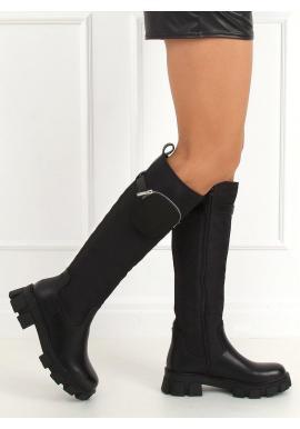 Čierne vysoké čižmy s kapsičkou pre dámy