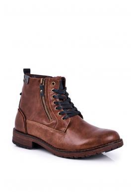 Pánske oteplené členkové topánky v hnedej farbe
