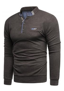 Hnedý módny sveter so zapínaným výstrihom pre pánov