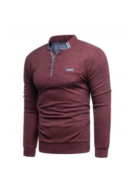 Pánsky módny sveter so zapínaným výstrihom v bordovej farbe