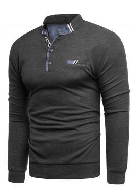 Módny pánsky sveter tmavosivej farby so zapínaným výstrihom