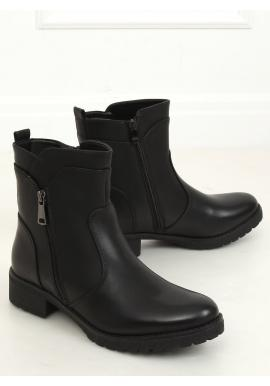 Čierne módne topánky so zipsom pre dámy