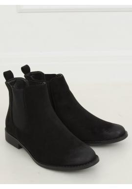 Dámske semišové topánky s elastickými vložkami v čiernej farbe