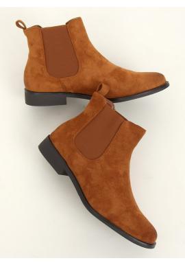 Semišové dámske topánky hnedej farby s elastickými vložkami