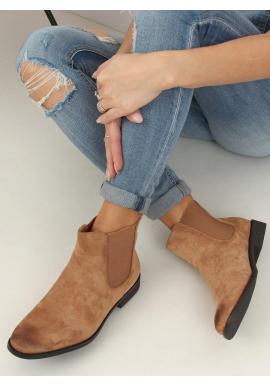 Béžové semišové topánky s elastickými vložkami pre dámy