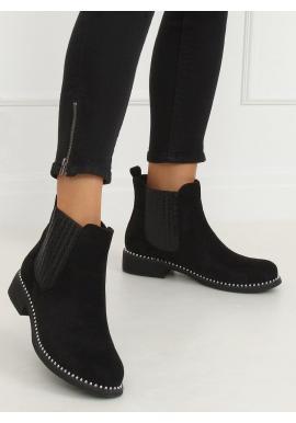 Semišové dámske topánky čiernej farby s korálkami