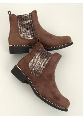 Hnedé semišové topánky s korálkami pre dámy