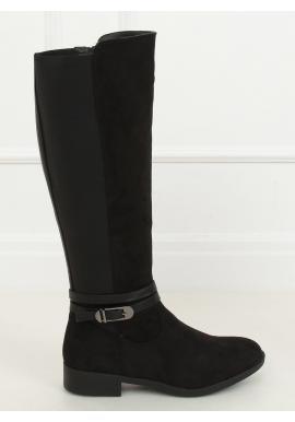 Klasické dámske čižmy čiernej farby s prackou