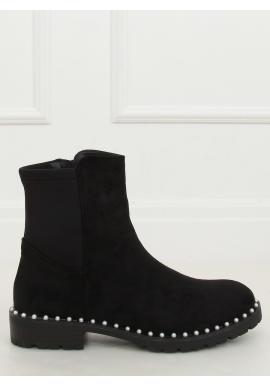 Dámske semišové topánky s perlami v čiernej farbe