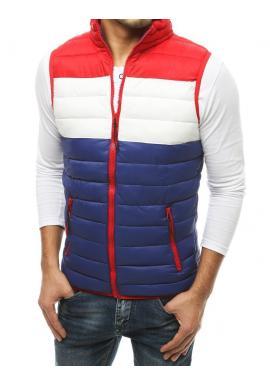 Pánska prešívaná vesta na prechodné obdobie v modro-červenej farbe