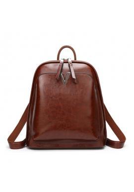 Hnedý voskovaný elegantný ruksak pre dámy