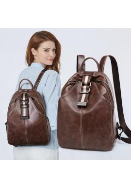Dámsky voskovaný elegantný ruksak v hnedej farbe