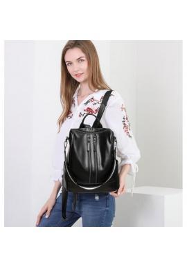 Čierny voskovaný elegantný ruksak pre dámy